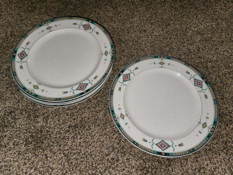 "Set of 5 ADIRONDACK STUDIO NOVA MIKASA AZTEC SOUTHWESTERN DINNER PLATES 11"""