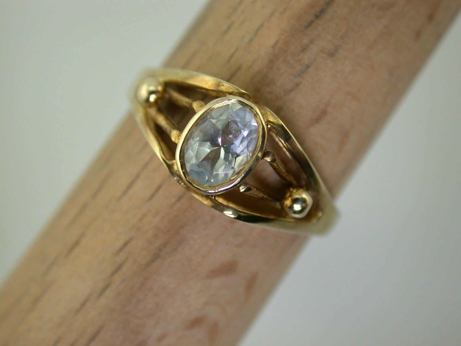 Gelbgoldring mit Aquamarin ungetragen aus Juwelierauflösung Gr.56