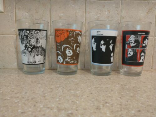 The Beatles 2010 Collector Series 16 Oz Pint Drinking Glasses Tumblers Set of 4