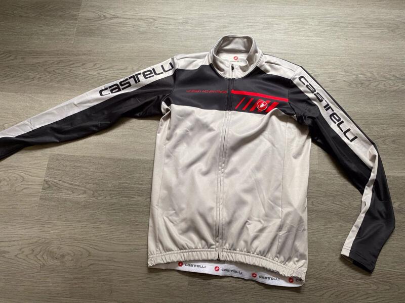 Castelli Mens Long Sleeve Grey / Black Cycling Jersey - Size Large