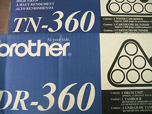 2 pack 1 brother tn 360 1  dr 360 both genuine oem tn360 open box new dr360