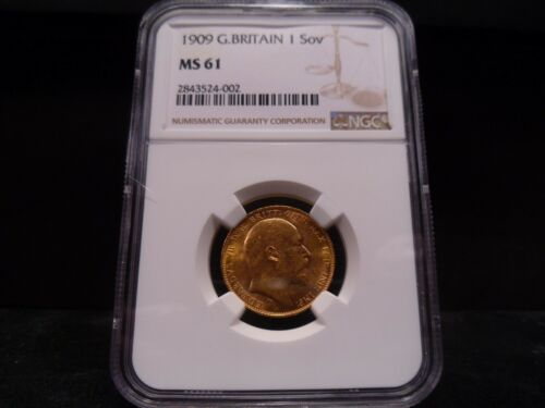 1909 MS61 Great Britain 1 Sovereign NGC Certified - Very Nice Mint State Coin