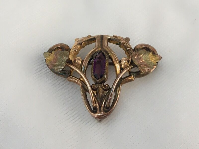 Darling Antique Art Nouveau Watch Pin Brooch Locket Holder Amethyst Leaves C.T.