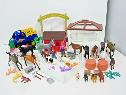Farm Animals Barn Toy Lot Country Life Horse  Tractor New Ray Breyer Figures