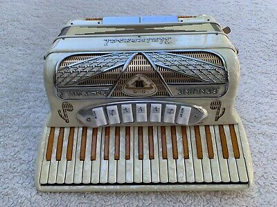 Vintage Universal Genuine Ensemble Accordion Pearl/Gold Finish Italian