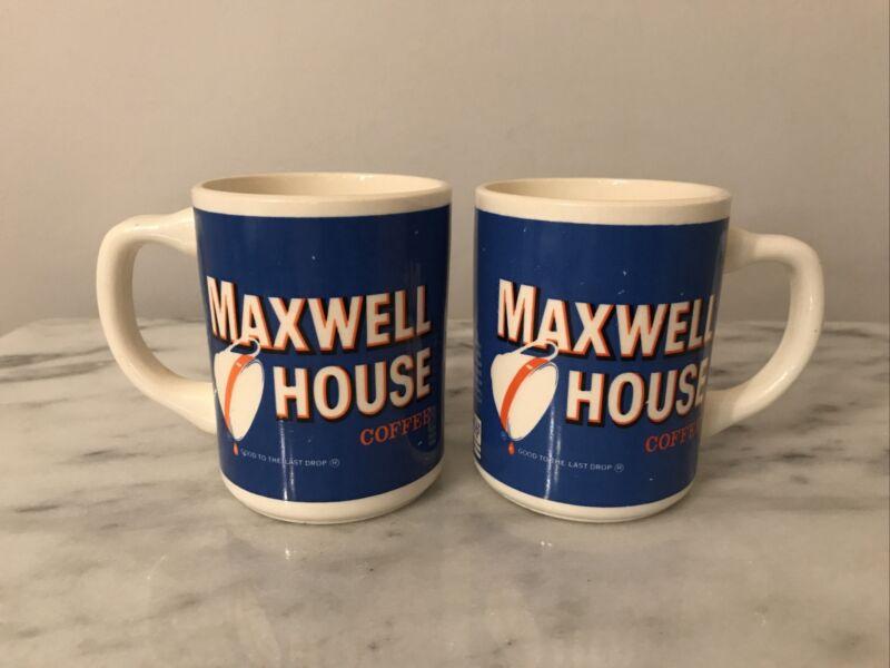 2 Vintage Maxwell House Coffee Good To The Last Drop Mug Cup USA Collectible