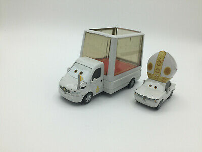 Disney Pixar Cars Diecast Lot of 2 Pope Pinion IV & Popemobile