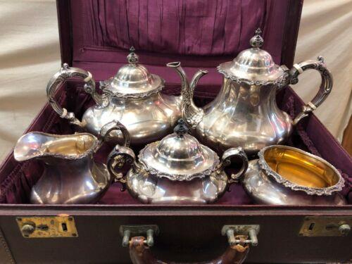 5-Piece Reed & Barton GEORGIAN ROSE Sterling Silver Coffee Tea Set + Trunk Case