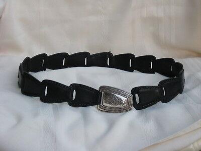 """Brighton Ladies Black Belt 96703 Silver Tone Hook Buckle M 28"""" - 35""""  Nice Belt"""