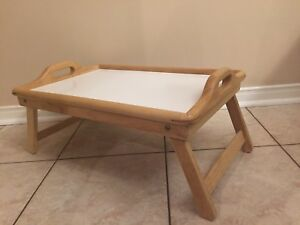 Wood Bed Tray Foldable Legs Easy Clean Surface