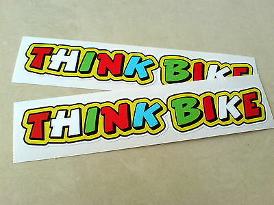 THINK BIKE Car Helmet Motorcycle Scooter Stickers Decals 2 off 140mm