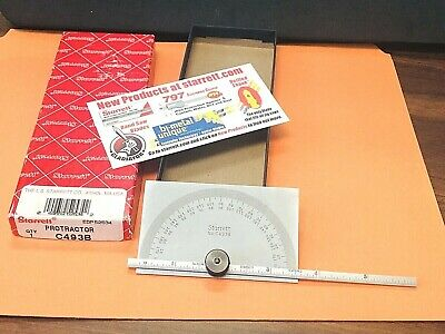 Brand New Starrett No.c493b Protractordepth Gage With A 6 Inch Long Ruler. Usa
