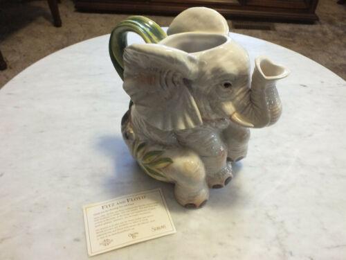 Vintage Fitz & Floyd Cape Town Exotic Jungle Sitting Elephant Pitcher
