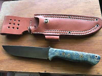 Bark River Knives Bravo 1.5 Blue &Gold Elder Burl CPM 3V Steel Mosaic Pins