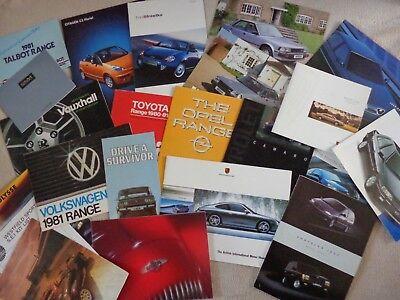 A Job Lot of Car Sales Brochures 1978 to 2000's.Morgan,Porsche,Camaro,Lada etc.