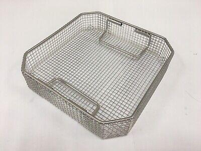 Stainless Steel Mesh Sterilization Traybasket 9 X 9 X 2 With Flip Handles