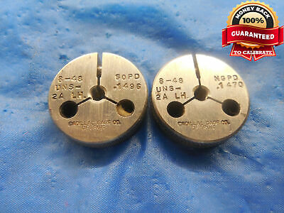8 48 Un 2a Left Hand Thread Ring Gages 8 .164 Go No Go P.d.s .1496 .1470 Lh