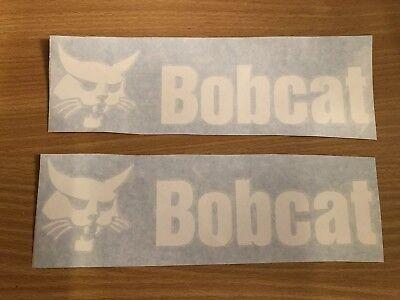 Bobcat Skid Steer 9 Decal Sticker Vinyl Set Of 2 - White