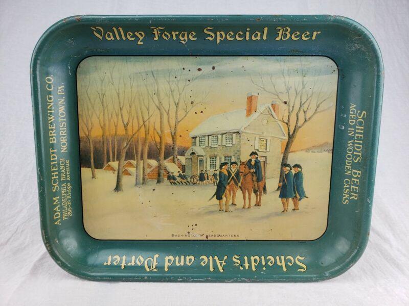Rare Vintage ADAM SCHEIDT Valley Forge Beer Tray Washington Headquarters Brewing
