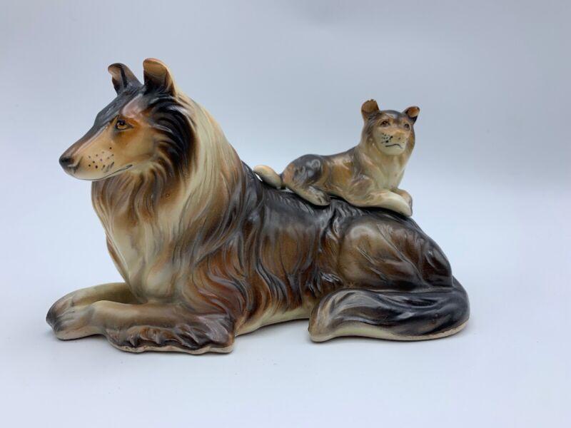 Wales Japan Puppy on back Dog Figurine Vintage Porcelain Statue Sculpture Collie