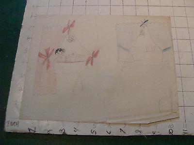 original MEIJER art: BABY in Red room, Blue room empty circa 1930's or 40's