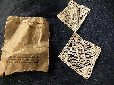 2xAntique Letter D-lace motif/applique/patch/craft/card making-original envelope