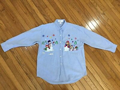 Casey Coleman Women's Christmas Embroidered Button Down Shirt Blouse Top Size L