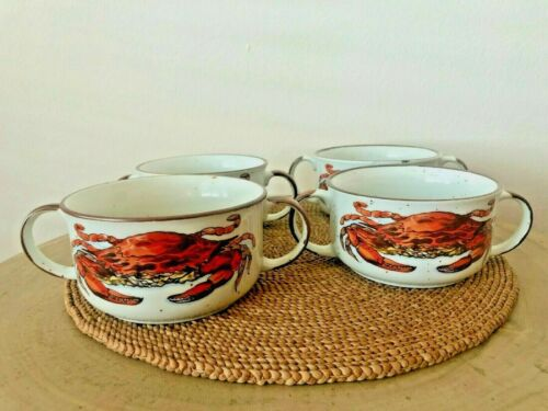 D.H. Holmes Crab Chowder Bowls with 2-Handles (Set of 4), Made in Japan