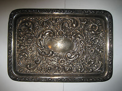 Hallmarked Sterling Silver Embossed, Dressing Table Tray. Birmingham, 1904.