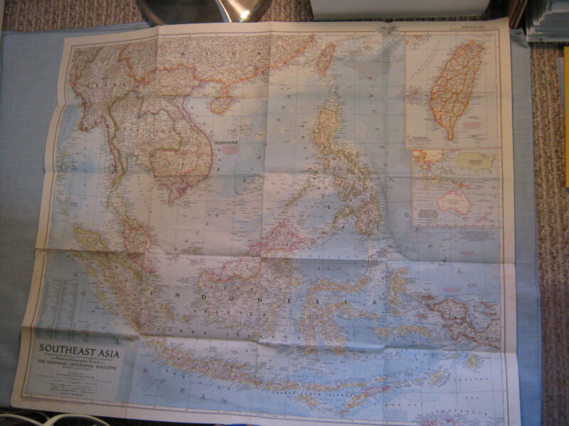VINTAGE SOUTHEAST ASIA WALL MAP National Geographic September 1955 XLNT