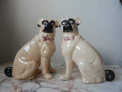 A Pair Of Antique Staffordshire Pug Dogs Circa 1860 Figurines Ornaments