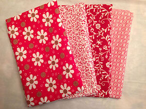 SPRING DAISIES COTTON QUILTING FAT QUARTERS RED ONE YARD OF FABRIC LOT OF 4