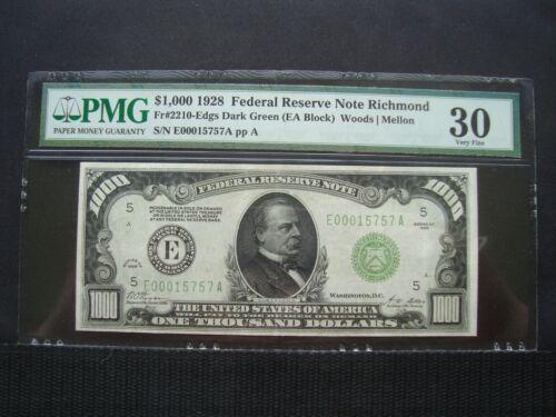 1928 $1000 FRN RICHMOND PMG VF30