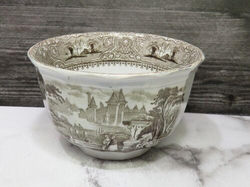 RARE Antique LOZERE IRONSTONE E. Challinor BROWN TRANSFERWARE Waste Bowl