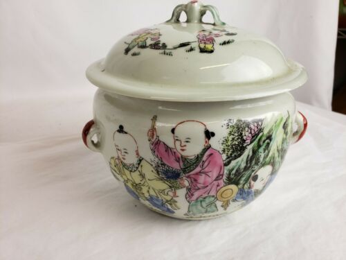 Nice antique chinese Famille Rose covered bowl 6""