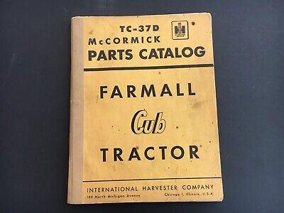 Farmall Cub Tractor International Harvester Tc-37d Parts Catalog From 1953