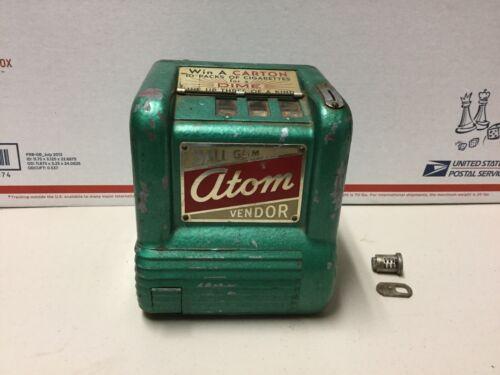 Atom Ball Gum 10 Cent Vendor 3 Reel Coin Op Trade Stimulator - Rare - Vintage