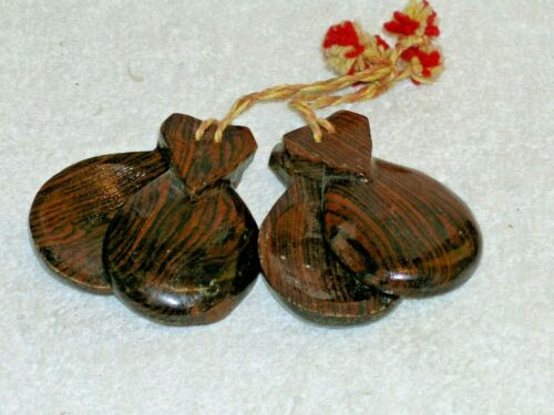 "Genuine Spanish Hand Made "" Castanets "" two pair matched with tie"