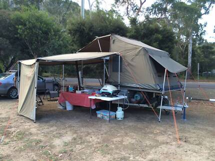 URGENT - 2015 Galv Trailer, Oztent RV2 + Foxwing,100L water