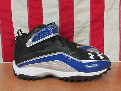 New! Under Armour Mid Football Turf Shoes Cleats Power Strap Sz.13.5 Black/Blue Strap Mid Football Cleat