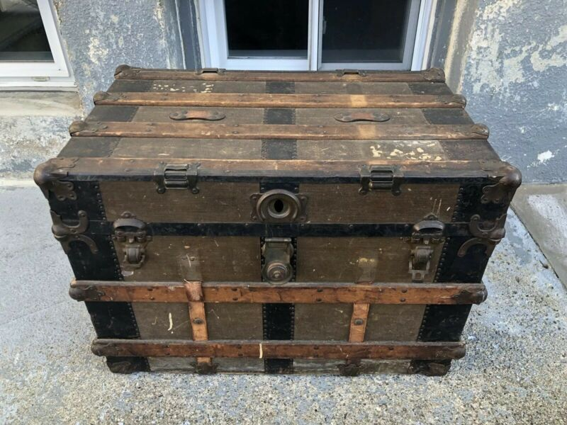 Vintage Wooden Steamer Trunk Antique Luggage AMEX American Express Advertising