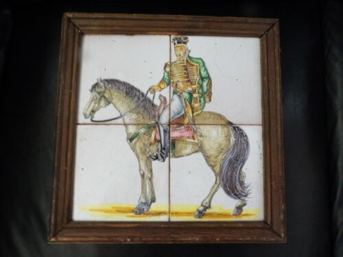 """Antique Andalusian Spanish Military Baroque Scenic 4 Tile 12 X 12"""" Pottery Tile"""