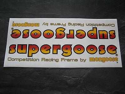 MONGOOSE BMX DECAL OLD SCHOOL BMX MONGOOSE SUPERGOOSE BMX FRAME STICKER 80S BMX
