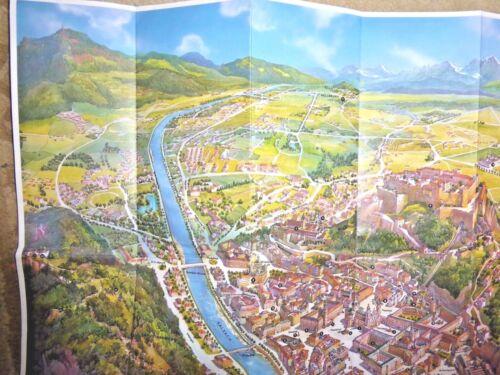 VINTAGE  3D CARTOON MAP OF SALZBURG AUSTRIA BY BRUNO KERSTEN 1974