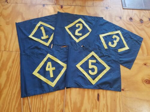 VINTAGE BOYS SCOUTS CUB SCOUTS FLAG TROOP FLAGS 1 - 5 BLUE AND YELLOW