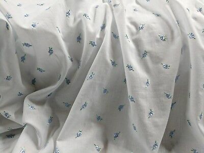 White 100% Cotton Lawn Embroidered Blue Flowers 57
