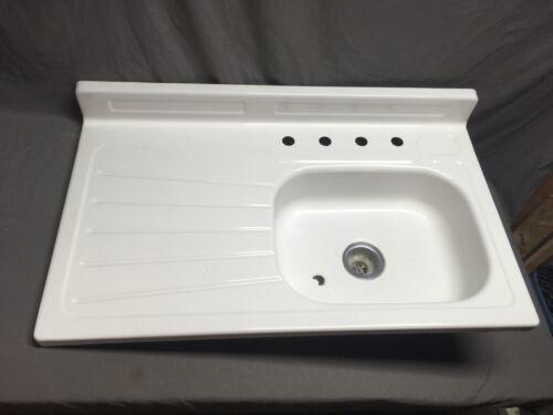 Vtg Mid Century Steel White Porcelain Single Basin Left Drainboard Sink 480-20E