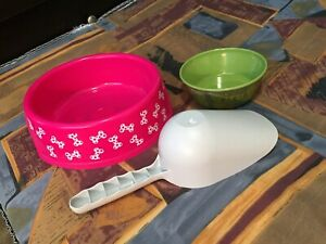 Dog bowls & food scoop.