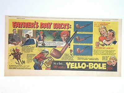 1951 - YELLO-BOLE Pipe - Newspaper Comic ad - FATHER'S DAY FACTS - Dial Soap ad