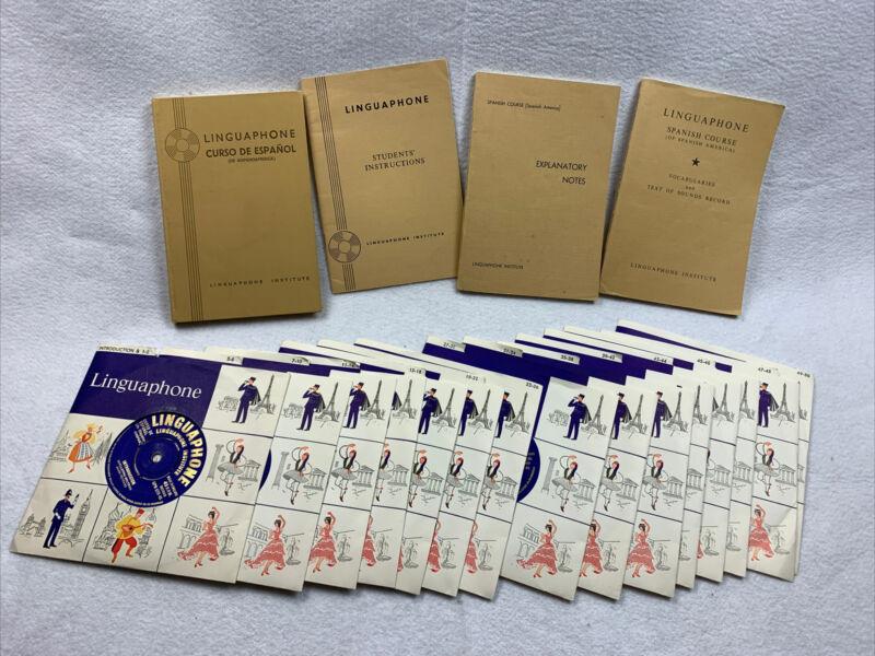 Linguaphone Spanish Teaching Course 45 RPM Records & Books Made England set